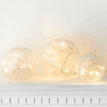 3er Set LED Glaskugeln warmweiß batteriebetrieben - 6
