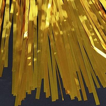 4 Packung Lametta Vorhang Glitzer Gold Glitzervorhang Fringe Vorhang Fransen Vorhang Lametta Girlande Party Vorhang Metallfolie Vorhang für Party Deko,Hochzeitsdeko,geburtstagsparty Silvester deko - 3