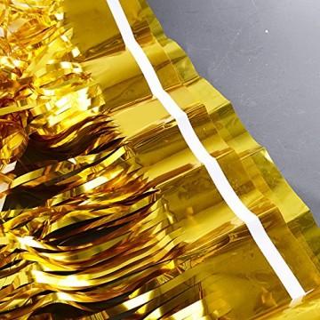 4 Packung Lametta Vorhang Glitzer Gold Glitzervorhang Fringe Vorhang Fransen Vorhang Lametta Girlande Party Vorhang Metallfolie Vorhang für Party Deko,Hochzeitsdeko,geburtstagsparty Silvester deko - 4