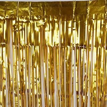 4 Packung Lametta Vorhang Glitzer Gold Glitzervorhang Fringe Vorhang Fransen Vorhang Lametta Girlande Party Vorhang Metallfolie Vorhang für Party Deko,Hochzeitsdeko,geburtstagsparty Silvester deko - 5
