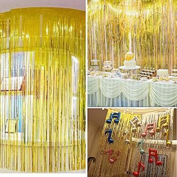 4 Packung Lametta Vorhang Glitzer Gold Glitzervorhang Fringe Vorhang Fransen Vorhang Lametta Girlande Party Vorhang Metallfolie Vorhang für Party Deko,Hochzeitsdeko,geburtstagsparty Silvester deko - 7