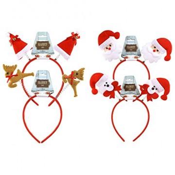 4 x Haarreif X-mas mit süßen Weihnachtsfiguren - Weihnachtshaarreifen - Kopfbedeckung Weihnachten - 1