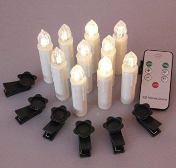 40er Christbaumkerzen Kabellos Warmweiß Flammenlos Weihnachtsbaum Lichterkette mit Fernbedienung - 3