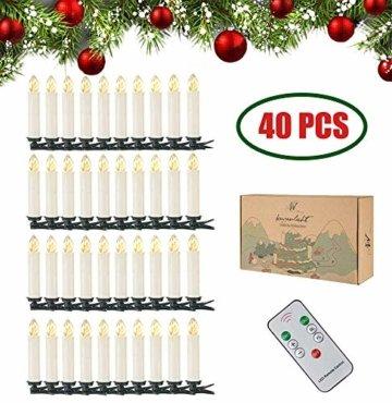 40er Christbaumkerzen Kabellos Warmweiß Flammenlos Weihnachtsbaum Lichterkette mit Fernbedienung - 1