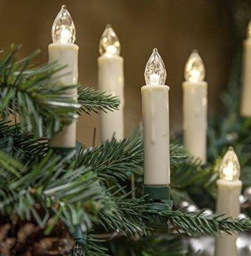 40er Christbaumkerzen Kabellos Warmweiß Flammenlos Weihnachtsbaum Lichterkette mit Fernbedienung - 6