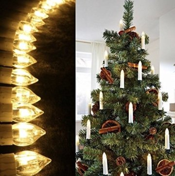 40er Christbaumkerzen Kabellos Warmweiß Flammenlos Weihnachtsbaum Lichterkette mit Fernbedienung - 8