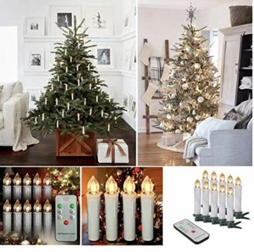 40x Mini kabellose LED Mini Christbaumkerzen LED Christbaumkerzen Basis-Set mit Kerzen und IR-Fernbedienung Wasserdichte LED Weihnachtskerzen mit LED Kerzen (40 er) - 3