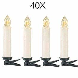 40x Mini kabellose LED Mini Christbaumkerzen LED Christbaumkerzen Basis-Set mit Kerzen und IR-Fernbedienung Wasserdichte LED Weihnachtskerzen mit LED Kerzen (40 er) - 1