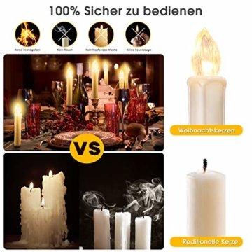 40x Weinachten LED Kerzen Kabellos Weihnachtskerzen Christbaumkerzen Dimmen Flackern Baumkerze-Set,Kerzen Lichtfarbe warmweiß - 2