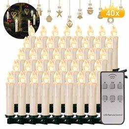 40x Weinachten LED Kerzen Kabellos Weihnachtskerzen Christbaumkerzen Dimmen Flackern Baumkerze-Set,Kerzen Lichtfarbe warmweiß - 1