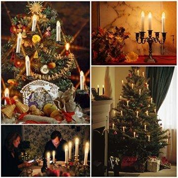 40x Weinachten LED Kerzen Kabellos Weihnachtskerzen Christbaumkerzen Dimmen Flackern Baumkerze-Set,Kerzen Lichtfarbe warmweiß - 7