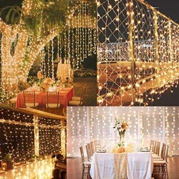 600 LEDs Lichterkette 6m * 3m IDESION 8 Betriebsarten LED Lichtervorhang für Innenausstattung Außenbereich Schlafzimmer Hochzeit Weihnachten Party (Warmweiß) - 3
