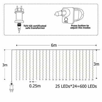 600 LEDs Lichterkette 6m * 3m IDESION 8 Betriebsarten LED Lichtervorhang für Innenausstattung Außenbereich Schlafzimmer Hochzeit Weihnachten Party (Warmweiß) - 4