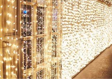 600 LEDs Lichterkette 6m * 3m IDESION 8 Betriebsarten LED Lichtervorhang für Innenausstattung Außenbereich Schlafzimmer Hochzeit Weihnachten Party (Warmweiß) - 1
