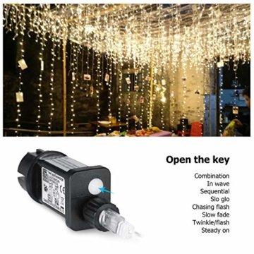 600 LEDs Lichterkette 6m * 3m IDESION 8 Betriebsarten LED Lichtervorhang für Innenausstattung Außenbereich Schlafzimmer Hochzeit Weihnachten Party (Warmweiß) - 5