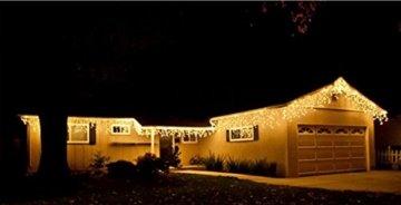 600er LED 15m Eisregen Lichterkette Lichtervorhang Eiszapfen Außen Innen Deko für Garten Party Hochzeit Strombetrieben mit Stecker Gresonic [Energieklasse A+] (Warmweiß, Dauerlicht) - 2