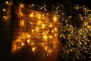 600er LED 15m Eisregen Lichterkette Lichtervorhang Eiszapfen Außen Innen Deko für Garten Party Hochzeit Strombetrieben mit Stecker Gresonic [Energieklasse A+] (Warmweiß, Dauerlicht) - 3