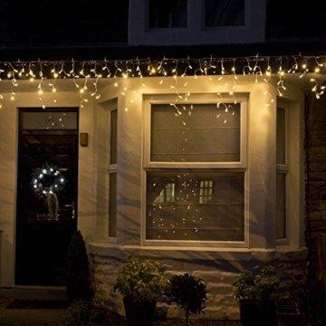 600er LED 15m Eisregen Lichterkette Lichtervorhang Eiszapfen Außen Innen Deko für Garten Party Hochzeit Strombetrieben mit Stecker Gresonic [Energieklasse A+] (Warmweiß, Dauerlicht) - 5