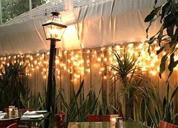 600er LED 15m Eisregen Lichterkette Lichtervorhang Eiszapfen Außen Innen Deko für Garten Party Hochzeit Strombetrieben mit Stecker Gresonic [Energieklasse A+] (Warmweiß, Dauerlicht) - 6