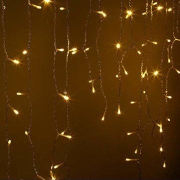 600er LED 15m Eisregen Lichterkette Lichtervorhang Eiszapfen Außen Innen Deko für Garten Party Hochzeit Strombetrieben mit Stecker Gresonic [Energieklasse A+] (Warmweiß, Dauerlicht) - 8