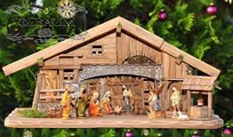 80 cm Ölbaum Weihnachtskrippe, mit LED + Brunnen + Dekor, Massivholz historisch braun - mit 12 x PREMIUM-Krippenfiguren + Engel - 1