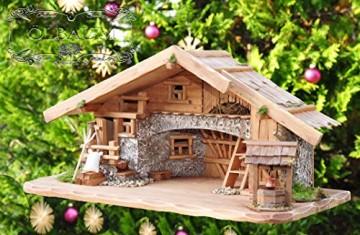 80 cm Ölbaum Weihnachtskrippe, mit LED + Brunnen + Dekor, Massivholz historisch braun - mit 12 x PREMIUM-Krippenfiguren + Engel - 5