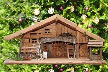 80 cm Ölbaum Weihnachtskrippe, mit LED + Brunnen + Dekor, Massivholz historisch braun - mit 12 x PREMIUM-Krippenfiguren + Engel - 9