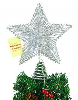 "8""Federnd Stern mit weißer LED Lights - Christmas Tree Top Star/Weihnachtsdekoration - 1"