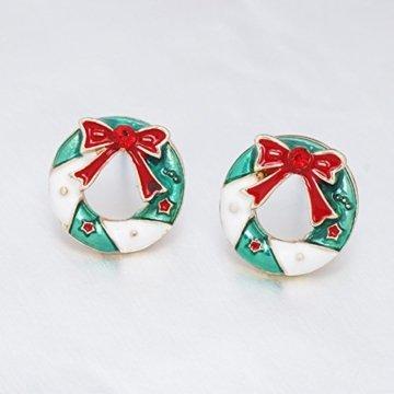 Adisaer Ohrringe Rot Modeschmuckcreolen Damen Gold Valentinstag Metalllegierung Schleife Mit Zirkonia Weihnachtskranz Rund Cut Ohrringe Für Damen - 2