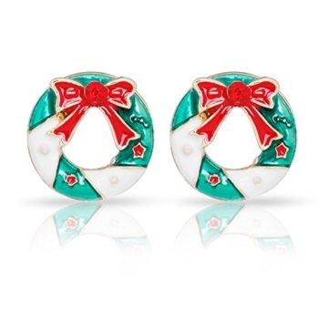 Adisaer Ohrringe Rot Modeschmuckcreolen Damen Gold Valentinstag Metalllegierung Schleife Mit Zirkonia Weihnachtskranz Rund Cut Ohrringe Für Damen - 1
