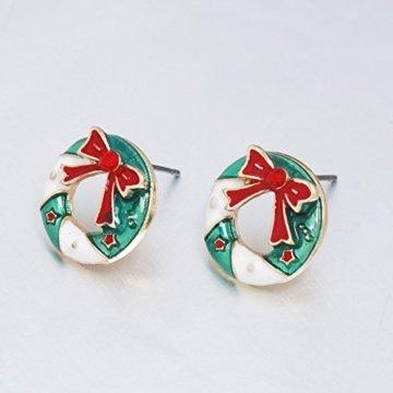 Adisaer Ohrringe Rot Modeschmuckcreolen Damen Gold Valentinstag Metalllegierung Schleife Mit Zirkonia Weihnachtskranz Rund Cut Ohrringe Für Damen - 5