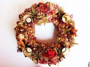 Adventskranz MARE VENEZIA Luxus Maritim grosse Adventsdeko Tischkranz Rot Goldfarben Muscheln romantische Weihnachtsdeko Froschkönig Harlekin - 2