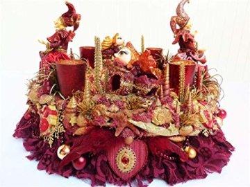 Adventskranz MARE VENEZIA Luxus Maritim grosse Adventsdeko Tischkranz Rot Goldfarben Muscheln romantische Weihnachtsdeko Froschkönig Harlekin - 3