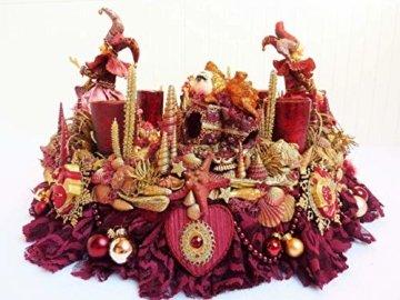 Adventskranz MARE VENEZIA Luxus Maritim grosse Adventsdeko Tischkranz Rot Goldfarben Muscheln romantische Weihnachtsdeko Froschkönig Harlekin - 4