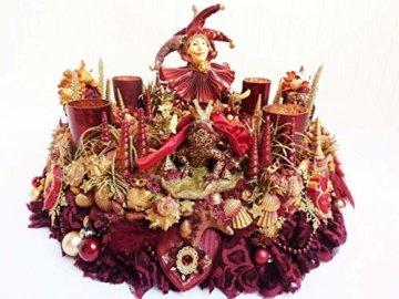 Adventskranz MARE VENEZIA Luxus Maritim grosse Adventsdeko Tischkranz Rot Goldfarben Muscheln romantische Weihnachtsdeko Froschkönig Harlekin - 1
