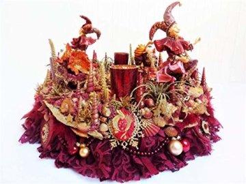 Adventskranz MARE VENEZIA Luxus Maritim grosse Adventsdeko Tischkranz Rot Goldfarben Muscheln romantische Weihnachtsdeko Froschkönig Harlekin - 5