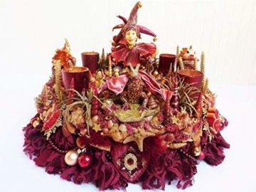 Adventskranz MARE VENEZIA Luxus Maritim grosse Adventsdeko Tischkranz Rot Goldfarben Muscheln romantische Weihnachtsdeko Froschkönig Harlekin - 6