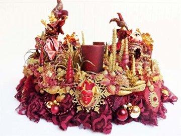 Adventskranz MARE VENEZIA Luxus Maritim grosse Adventsdeko Tischkranz Rot Goldfarben Muscheln romantische Weihnachtsdeko Froschkönig Harlekin - 7