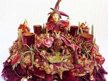 Adventskranz MARE VENEZIA Luxus Maritim grosse Adventsdeko Tischkranz Rot Goldfarben Muscheln romantische Weihnachtsdeko Froschkönig Harlekin - 8
