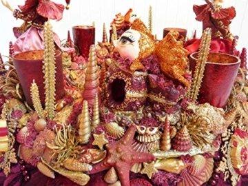 Adventskranz MARE VENEZIA Luxus Maritim grosse Adventsdeko Tischkranz Rot Goldfarben Muscheln romantische Weihnachtsdeko Froschkönig Harlekin - 9