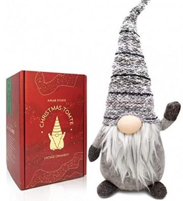 Airlab Ostern Weihnachten Deko Wichtel 49 cm Hoch, Schwedischen Weihnachtsmann Santa Tomte Gnom, Festliche Verpackung, Skandinavischer Zwerg Geschenke für Kinder Familie Ostern Weihnachten, Grau - 1