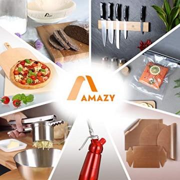 Amazy Schiefer Untersetzer Set (8 Stück) inkl. Kreidestift – Dekorative Glasuntersetzer aus 100% Natur Schieferplatten mit praktischem Halter aus Filz – Tolle Geschenkidee (eckig | 10x10 cm) - 6