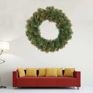Amosfun weihnachtskranz mit led lichter kranz vorbeleuchtete weihnachtsdekorationen weihnachtskranz indoor outdoor dekorationen 40cm (ohne akku) - 2