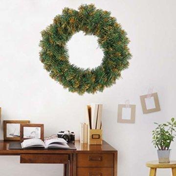 Amosfun weihnachtskranz mit led lichter kranz vorbeleuchtete weihnachtsdekorationen weihnachtskranz indoor outdoor dekorationen 40cm (ohne akku) - 6