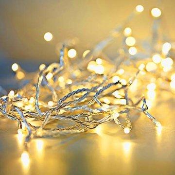 ANKOUJA Lichterkette LED Innen Außen Warmweiß 100er Verbindlich & Memroyfunktion für Weihnachten Zimmer Bett Hochzeit Party Schlafzimmer Weihnachtsbaum 31V-8 Funktion Partylicherkette - 3