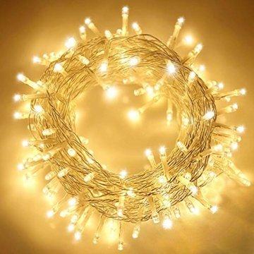 ANKOUJA Lichterkette LED Innen Außen Warmweiß 100er Verbindlich & Memroyfunktion für Weihnachten Zimmer Bett Hochzeit Party Schlafzimmer Weihnachtsbaum 31V-8 Funktion Partylicherkette - 1