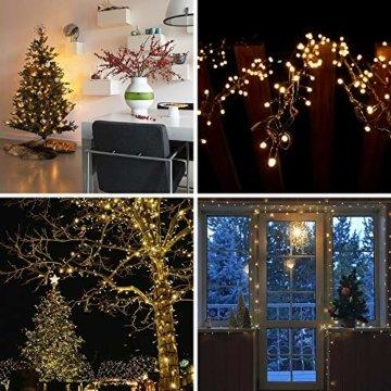 ANKOUJA Lichterkette LED Innen Außen Warmweiß 100er Verbindlich & Memroyfunktion für Weihnachten Zimmer Bett Hochzeit Party Schlafzimmer Weihnachtsbaum 31V-8 Funktion Partylicherkette - 8