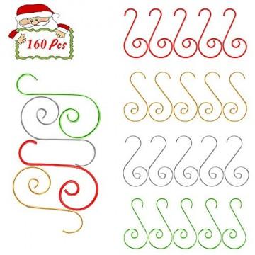 APERIL Weihnachtsverzierungs-Haken, Edelstahlhaken für Weihnachtsschmuck & Christbaumschmuck (160 Pcs, 2 Inch, 4 Farben) - 1