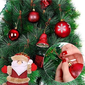 APERIL Weihnachtsverzierungs-Haken, Edelstahlhaken für Weihnachtsschmuck & Christbaumschmuck (160 Pcs, 2 Inch, 4 Farben) - 6