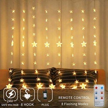 Areskey LED Lichterketten,80 Sterne 144 LEDs Anschließbar Sternenvorhang mit 8 Modi Fernbedienung, Weihnachtsbeleuchtung für Fenster Dekoration Innen Aussen Weihnachtsschmuck (2x1,5M) - 1